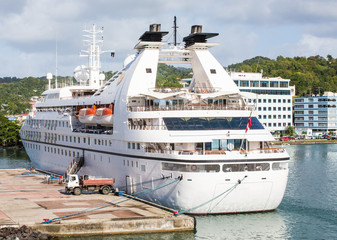 Small Luxury Cruise Ship at Caribbean Port