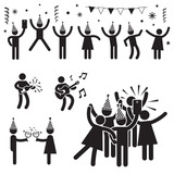 Fototapety People Party Symbols B&W