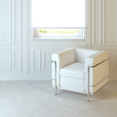 White modern armchair in emty interior with parquet