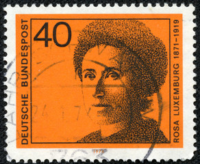 stamp printed in Germany shows Rosa Luxemburg
