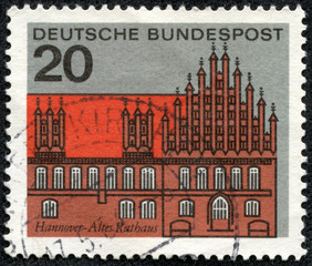Stamp shows graphic of the Old Court House in Hanover