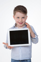happy male kid on isolated