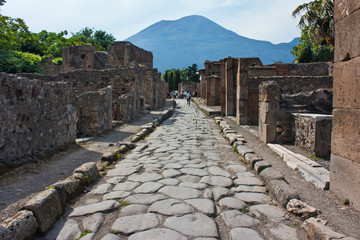 street of Pompeii with Vesuvio