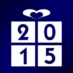 2015, gift illustration on blue background