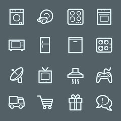 Home appliances web icons set
