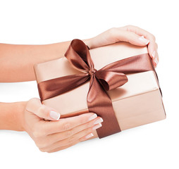 Small gift in women hands