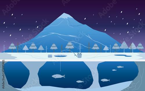 Łowić na lodzie w zima krajobrazie