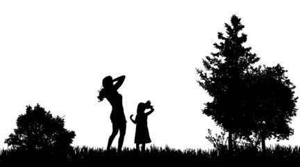 Vector silhouettes of family.