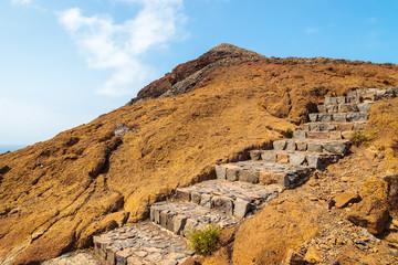 Stone steps on trekking trail at Punta de Sao Lourenco, Madeira