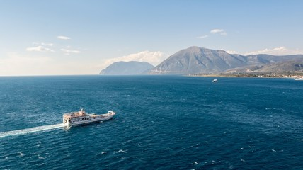 Ferry boat crossing a bay