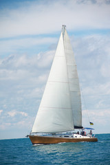 beautiful sailing yacht in sunny day