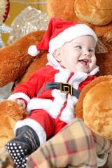 Kid in Santa Claus costume