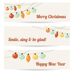 Set of retro banners with garlands, christmas balls, vector