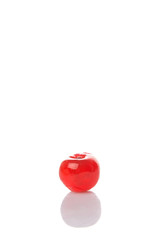 Preserved cherry fruit over white background