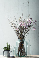 Beautiful dry flowers with vintage stuff