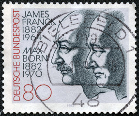 stamp printed in the Germany shows James Franck and Max Born
