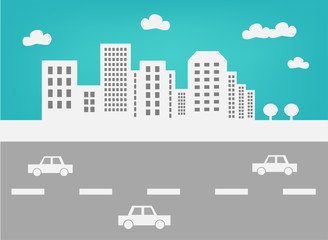 City skyline and traffic vector illustration