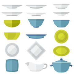 various vector color flat style plates and dishes set