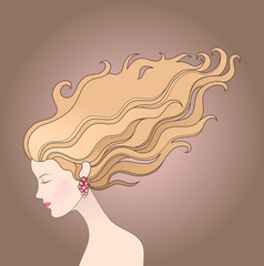 Illustration of girl with beautiful long hair on a wind