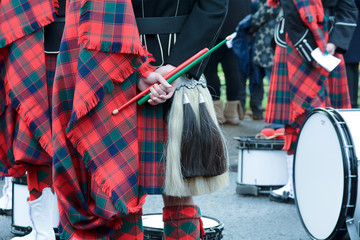 Scottish Marching Band drumsticks and drums