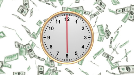 Time is Money - Clock with Falling US Dollars - HD loop