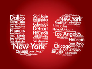 US letters with cities names words cloud, vector concept