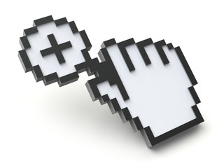 Pixel cursor with magnifying glass