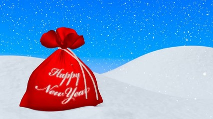 Red bag with Happy New Year sign under snowfall