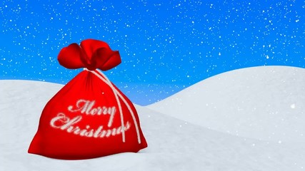 Red bag with Merry Christmas sign under snowfall