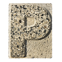 Letter P carved in a concrete block