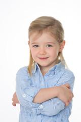 shy child smiling