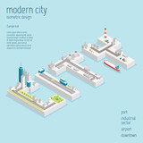 Fototapety Isometric modern city vector illustration