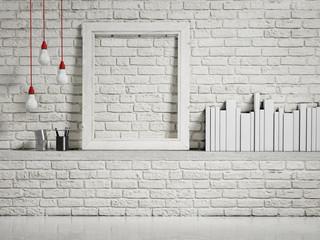 mock up white frame on white brick wall