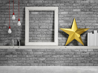 Mock up frame, brick wall and golden christmas star