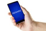 reward word on digital smart phone poster