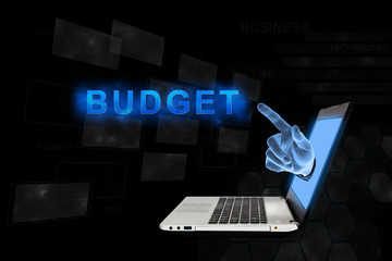 pointing hand budget with digital background