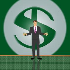 Человек деньгами на фоне долара