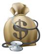 Dollar Money Sack and Stethoscope