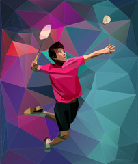 Abstrackt badminton player during smash on triangle background