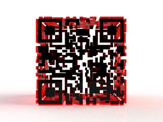 3d qr code abstract image