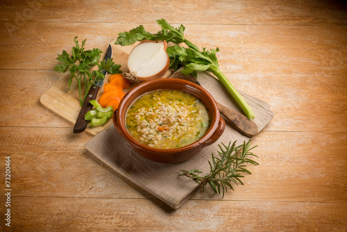 canvas print picture barley soup with vegetables