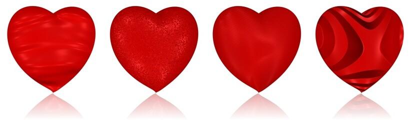 Herzen mit verschiedenen Strukturen und Oberflächen