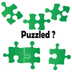 Concept of Confusion with Green Puzzle Pieces