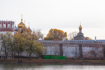 Novodevichy convent in Moscow, Russia. View from the pond.