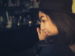 cute Asian girl in coffee shop