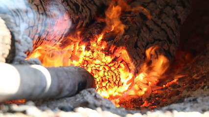 Burning wood