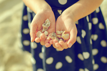 Child hands holding sea shells. Vintage effect photo.