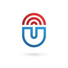 Letter U wireless logo icon design template elements