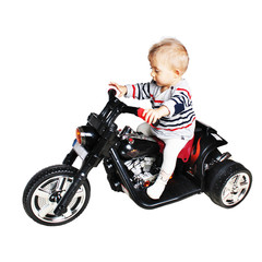 road warrior - one year old baby on a motorcycle