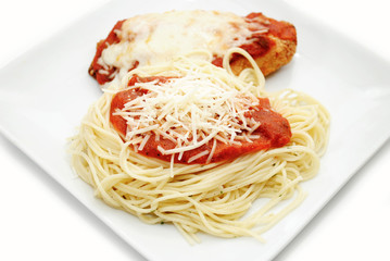 Chicken Parmesan with Spaghetti, Sauce and Cheese